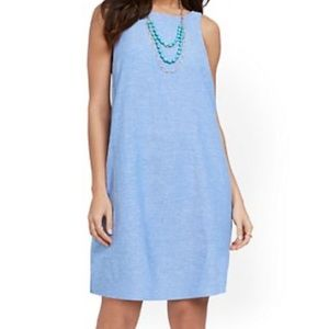 Chambray Light Blue Linen Sleeveless Shift Dress